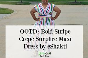 OOTD: Bold Stripe Crepe Surplice Maxi Dress by eShakti