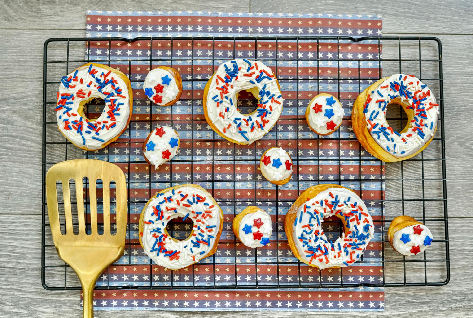Air Fryer Patriotic Donuts